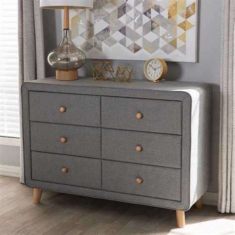 baxton studio jonesy mid century grey fabric upholstered  drawer dresser