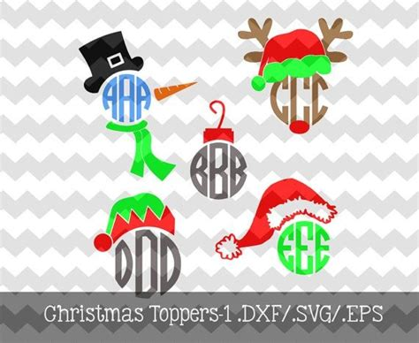 christmas dxf free monogram toppers 1 dxf svg eps files for use with your silhouette studio software 3 49