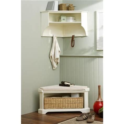 White Corner Storage Shelf And Bench For The Homestead Pinterest