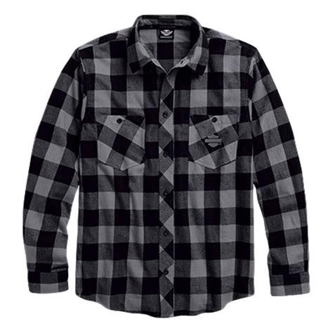 Kemeja Flannel Tartan Gradation Black 1 h d brushed plaid flannel shirt
