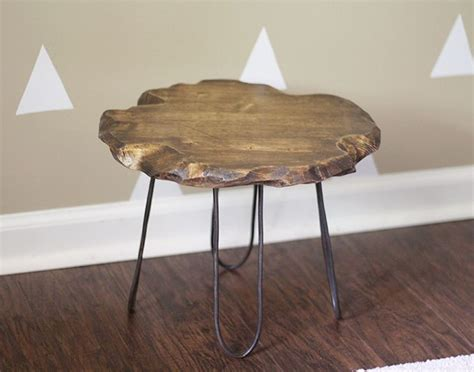 diy log table legs hometalk small rustic stool with diy hairpin style legs no welding required