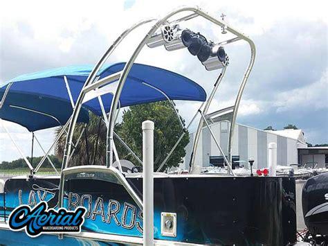 hurricane deck boat wakeboard tower pontoon boat wakeboard tower the f250 pontoon wake tower