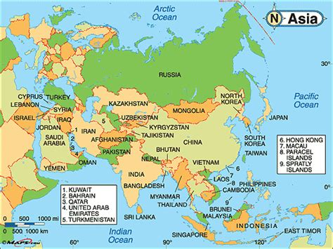 asia map with country names and capitals asia political map by maps from maps world s