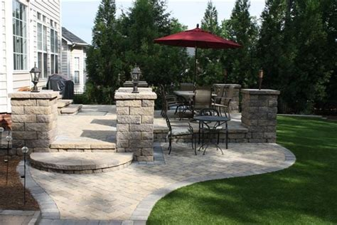 outdoor living with new paver patio with belguard pavers