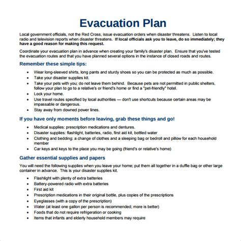 evacuation plan template disaster emergency plan template