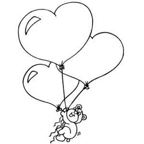 heart balloon coloring page bear with heart balloons coloring page
