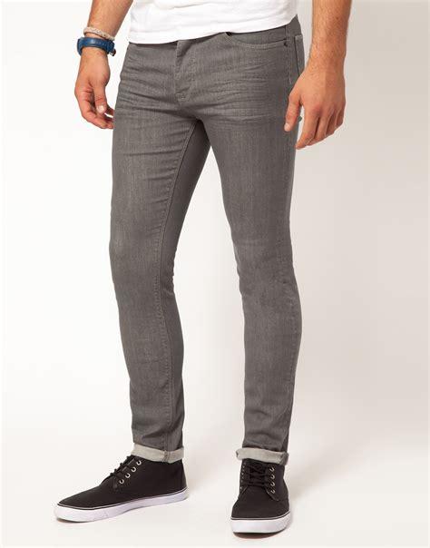 skinny jeans for men asos super skinny jeans in gray for men lyst