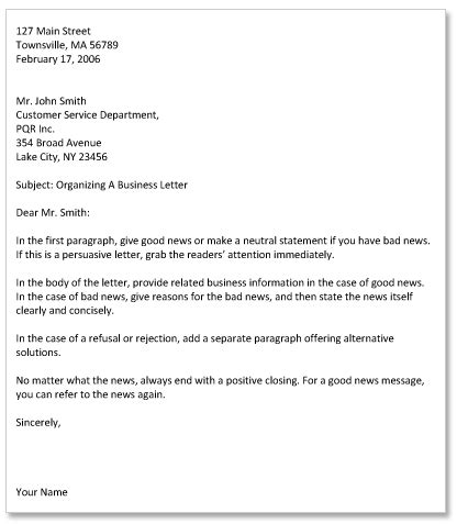 Block Style Business Letter With Subject Line professional letter format with subject line cover