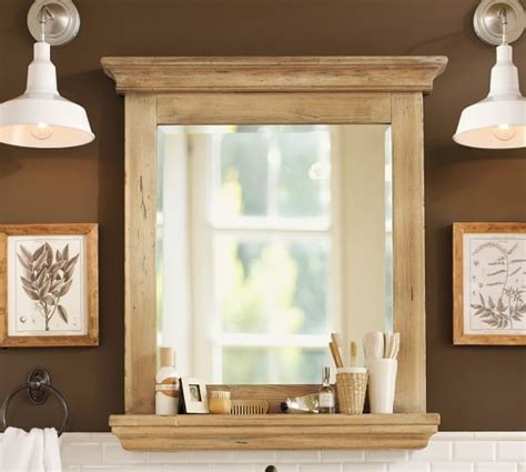 Wooden Bathroom Mirror With Shelf Reclaimed Wood Mirror With Shelf Wax Pine Finish Pottery Barn