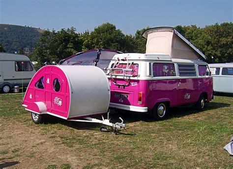 van volkswagen pink pink vw van and teardrop trailer bitches with
