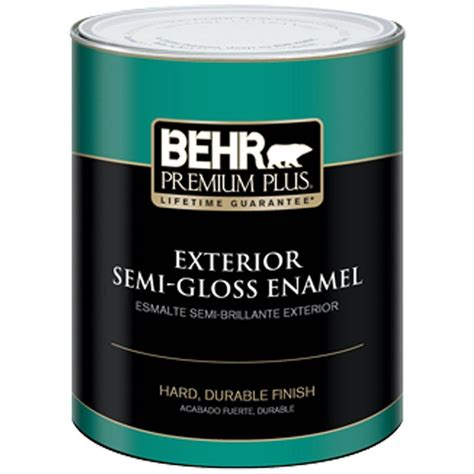 gloss paint behr premium plus 1 qt ultra pure white semi gloss enamel exterior paint 505004 the home depot
