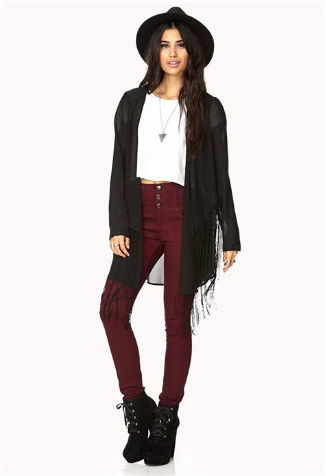 Sweater Wanita Fashion Garsel 7 fringe open front cardigan forever21 fashion outfittings open