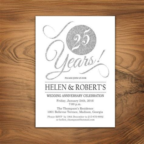 free printable silver anniversary cards 25 best ideas about anniversary invitations on pinterest