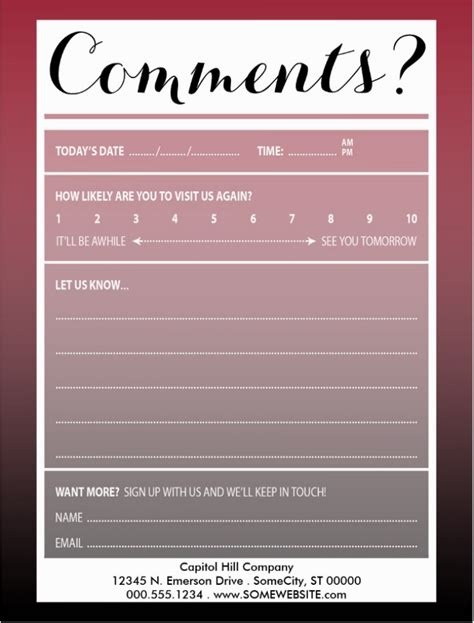 Comment Card Template by Restaurant Guest Comment Card Designs Cardtemplates