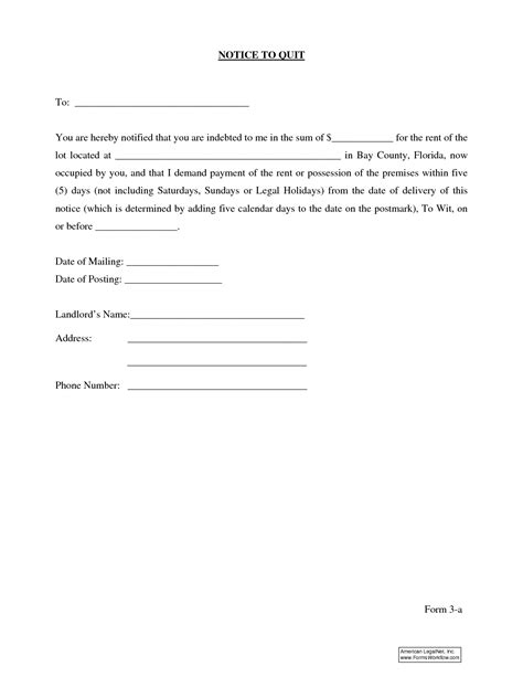 sle eviction notice letter florida 10 best images of basic eviction notice form florida