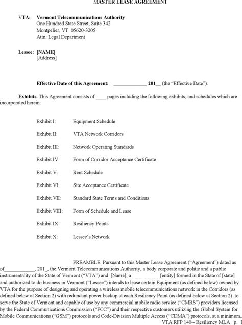 Free Vermont Master Lease Agreement Form Pdf 280kb 31 Page S Master Lease Agreement Template