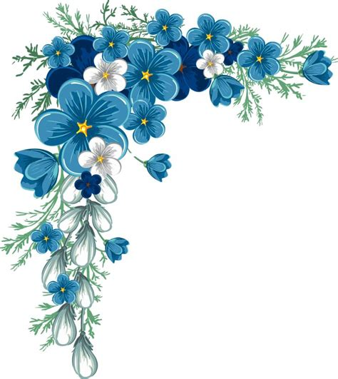 printable blue flowers 144 best clip art corners printables images on pinterest