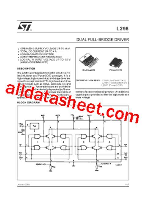 data sheets transistor pdf l298n datasheet pdf stmicroelectronics