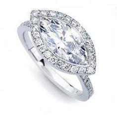horizontal markise ring setting on engagement rings