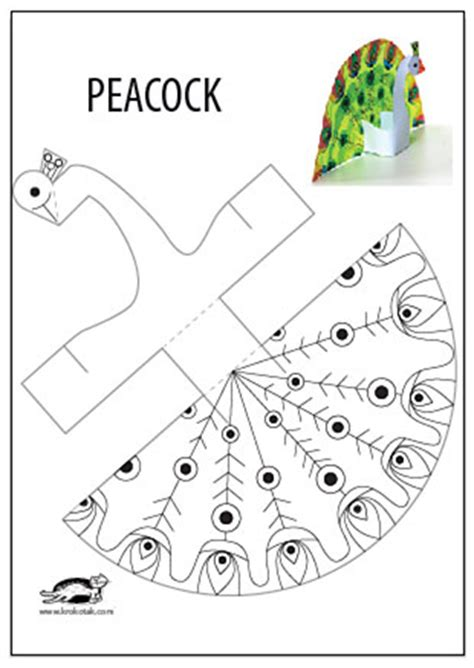 print out paper crafts krokotak glue less printable peacock