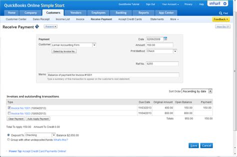 quickbooks tutorial receiving payments about quickbooks online