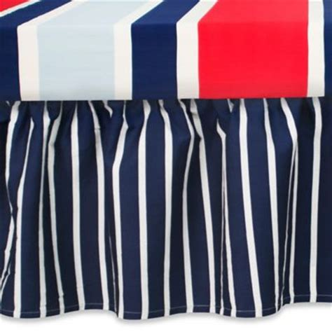 buy blue and white striped bed skirt from bed bath beyond