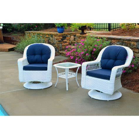 Patio Furniture Seating Sets Biloxi Outdoor White Resin Wicker 3 Swivel Glider Set With Blue Cushions Ebay