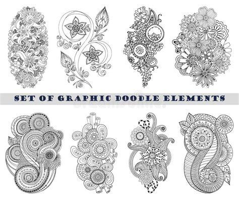 set of henna paisley mehndi doodle element stock vector
