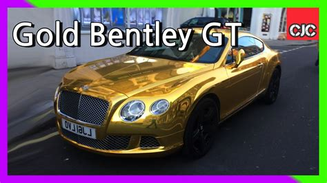 gold bentley gold bentley gt on the streets of
