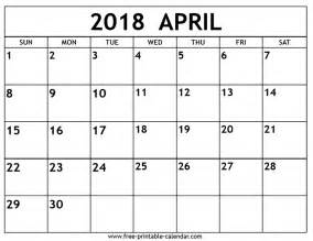 Calendar Of April 2018 April 2018 Calendar Free Printable Calendar