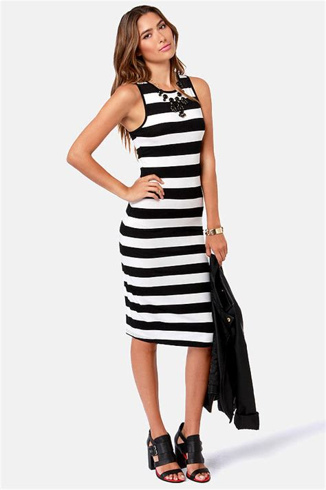 Dress Stripe striped dress black dress white dress 36 00