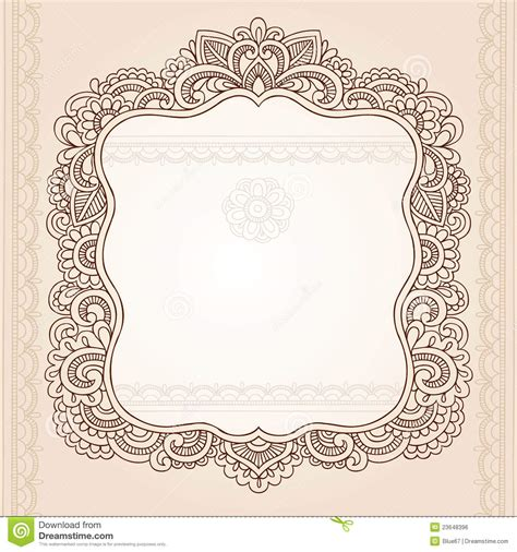 henna tattoo designs eps henna flower frame doodle vector design stock