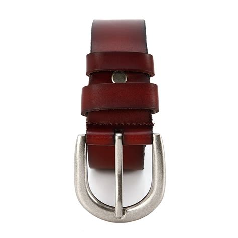 fashion mens casual dress genuine leather belt buckle
