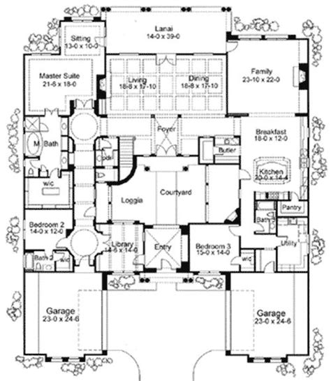 floor plans with courtyard plan 16826wg exciting courtyard mediterranean home plan