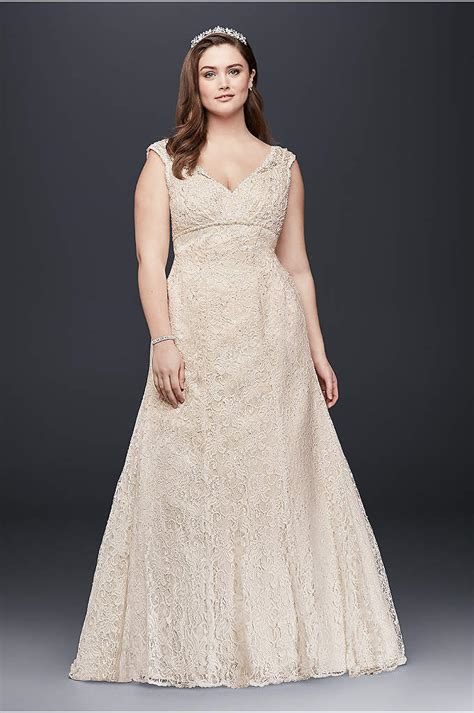 Beaded Lace Sweetheart Plus Size Wedding Dress   Davids Bridal