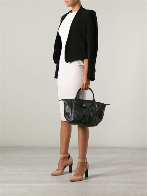 Lc Cuir Leather M longch le pliage cuir tote in black lyst