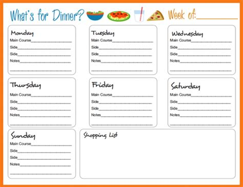 dinner menu template for home meal planning templates on meal planner