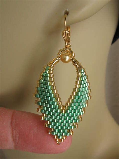 Beaded Leaf Earrings seed bead russian leaf earrings mint green jewelry