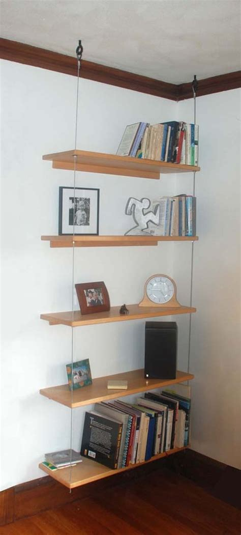suspended bookshelves diy able suspended shelving curbly