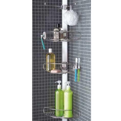 next bathroom caddy simplehuman stainless steel tension pole shower caddy the container store