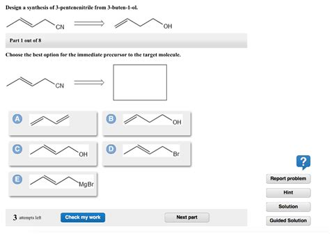 design expert 7 1 3 solved design a synthesis of 3 pentenenitrile from 3 bute