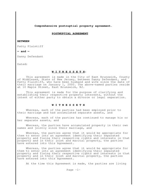 post nuptial agreement template postnuptial agreement form 3 free templates in pdf word