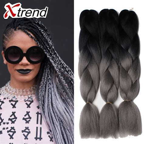 kanekolan hair black white grey 24 synthetic grey ombre braiding hair kanekalon jumbo