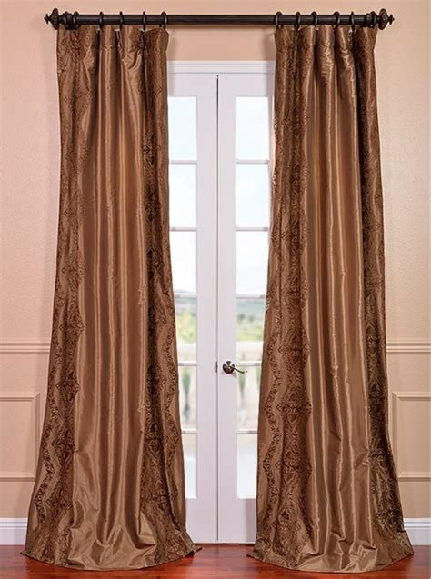 108 inch curtain panels chai embroidered faux silk 108 inch curtain panel