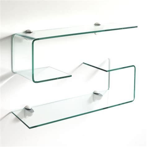 mensole vetro sospese coppia mensole in vetro curvato spessore 10 mm
