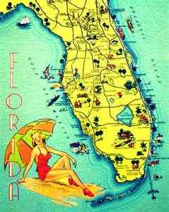 product map of florida florida 8x10 photo retro state from vintagebeach on