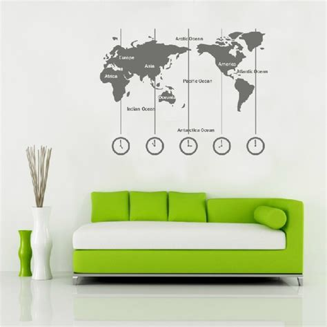 map wall sticker removable vinyl world map wall decal time wall clock wall sticker wold map with time zone