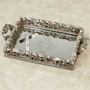 Mirrored Vanity Tray Elaine Antique Silver Mirrored Vanity Tray