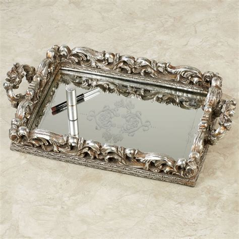 Silver Vanity Tray by Elaine Antique Silver Mirrored Vanity Tray