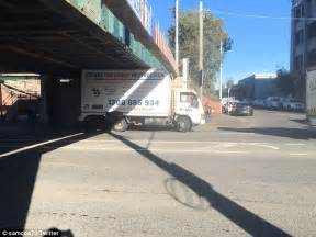 rubber st melbourne truck gets stuck melbourne s montague bridge
